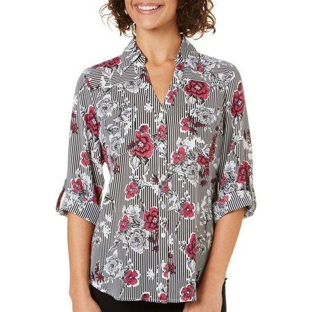A. Byer Juniors Floral Stripe Roll Sleeve Shirt