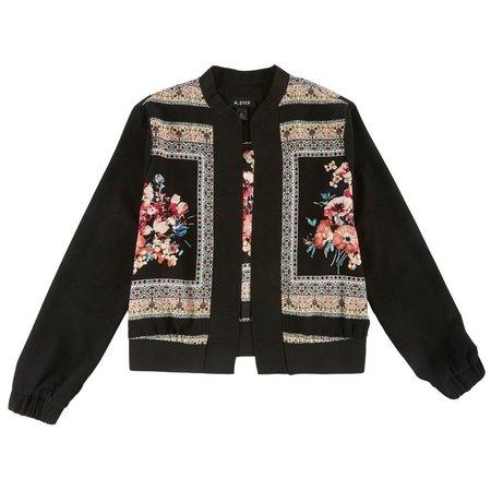 A. Byer Juniors Floral Bomber Jacket