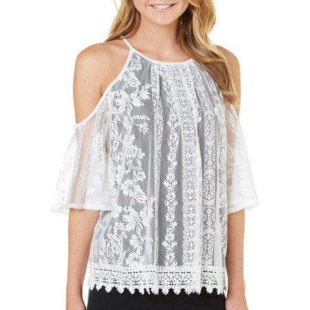A. Byer Juniors Crochet Lace Cold Shoulder Top