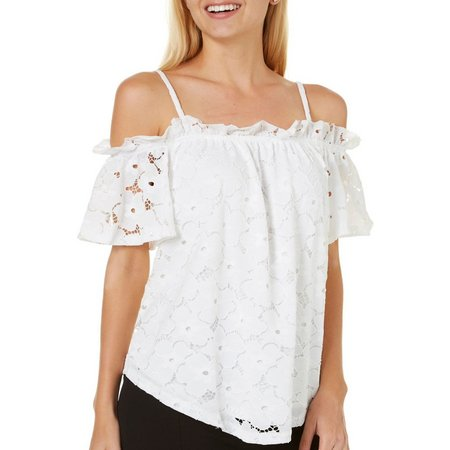 A. Byer Juniors Off Shoulder Crochet Lace Top