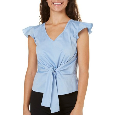 A. Byer Juniors Tie Front V-Neck Top