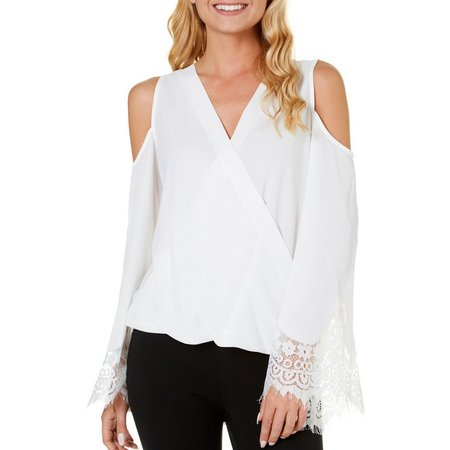 A. Byer Juniors Cold Shoulder Lace Bell Sleeve