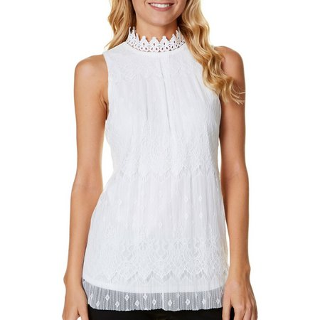 A. Byer Juniors High Neck Lace Tank Top