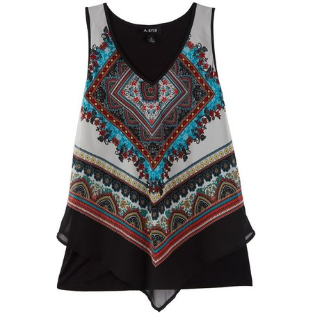 A. Byer Juniors Scarf Border Print Tank Top