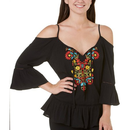 New! A. Byer Juniors Floral Embroidered Top