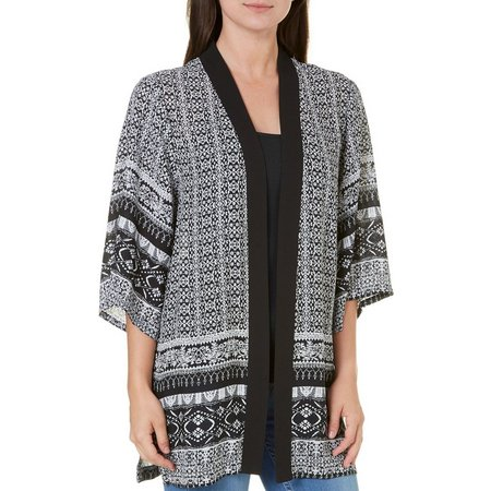 A. Byer Juniors Printed Open Front Kimono Jacket