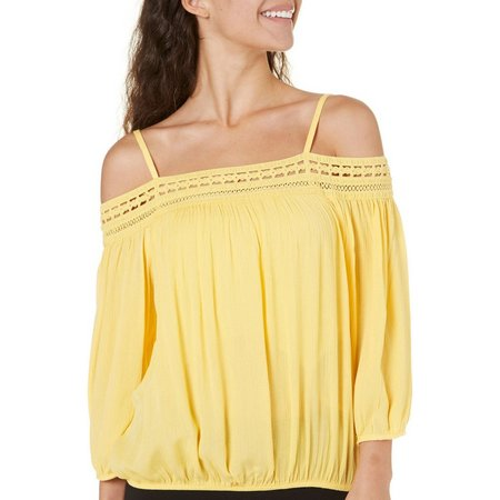 A. Byer Juniors Floral Embroidery Off Shoulder Top