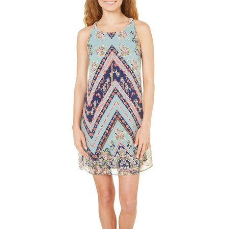 A. Byer Juniors Floral Chevron Dress