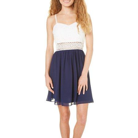 A. Byer Juniors Lace Bodice Sweetheart Dress