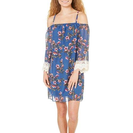 A. Byer Juniors Floral Print Cold Shoulder Dress