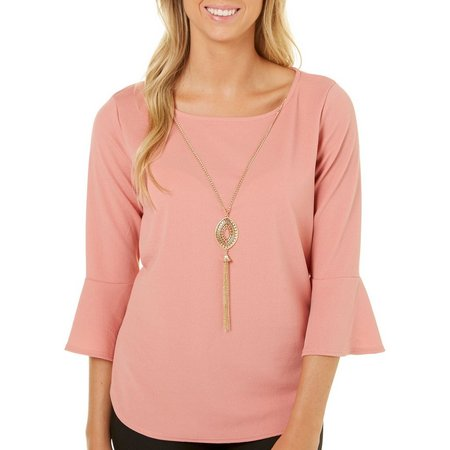 A. Byer Juniors Necklace & Bell Sleeve Solid