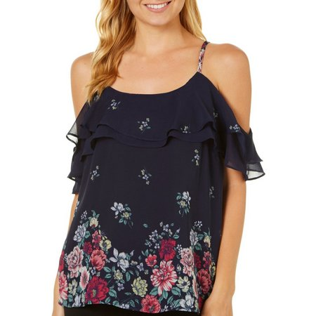 A. Byer Juniors Ruffled Floral Cold Shoulder Top