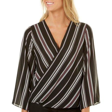 A. Byer Juniors Striped Surplice Kimono Sleeve Top