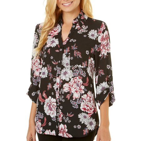 A. Byer Juniors Floral Button Down Roll Sleeve