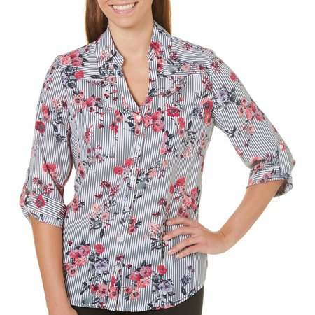 A. Byer Juniors Striped Floral Button Down Shirt