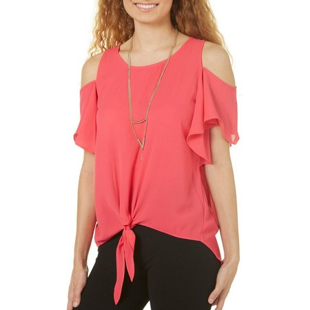 A. Byer Juniors Necklace & Flutter Sleeve Cold