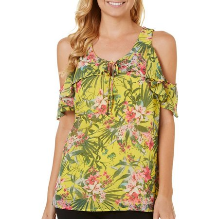 A. Byer Juniors Tropical Print Cold Shoulder Top