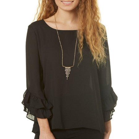 A. Byer Juniors Necklace & Ruffle Sleeve Top