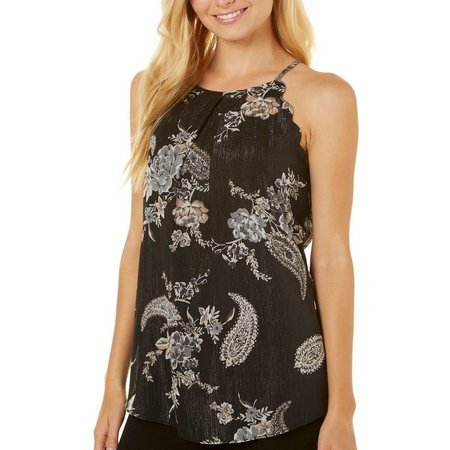 A. Byer Juniors Shimmer Floral Scallop Tank Top