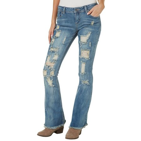 1st Kiss Juniors Destructed Flared Jeans