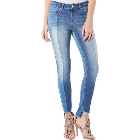 Indigo Rein Juniors High-Low Faded Skinny Jeans