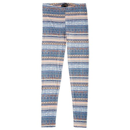 Derek Heart Juniors Paneled Print Mix Leggings