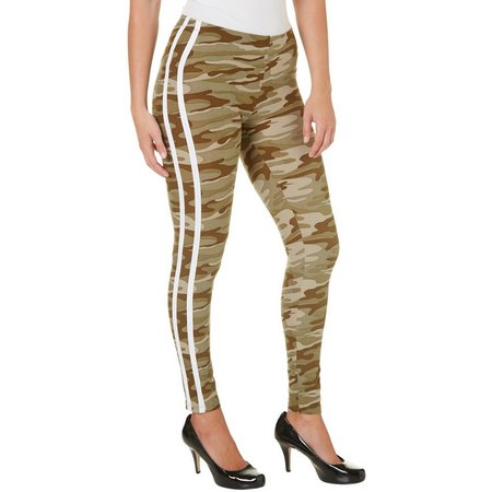 Derek Heart Juniors Camo Print Side Stripe Leggings