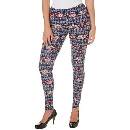 Derek Heart Juniors Floral Panel Print Leggings