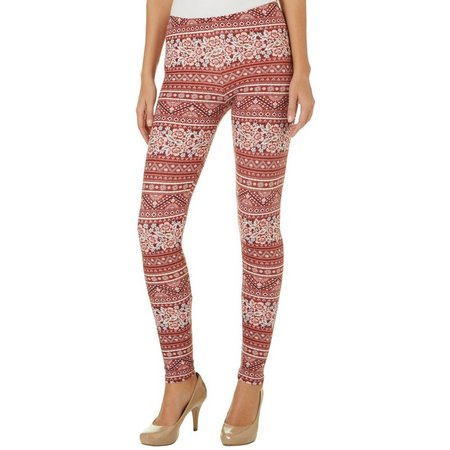 Derek Heart Juniors Floral Fair Isle Leggings