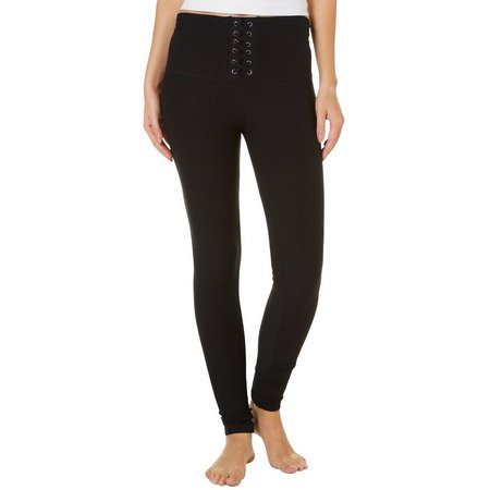 Derek Heart Juniors Solid Lace-Up Front Leggings