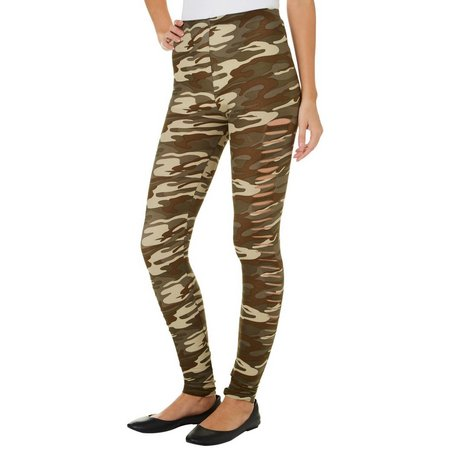 Derek Heart Juniors Slash Camo Print Leggings