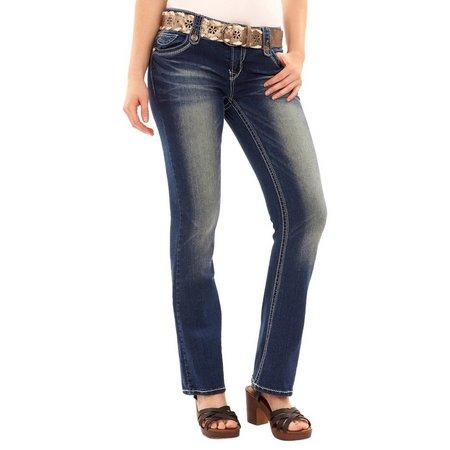 Wallflower Juniors Belt & Curvy Dark Wash Jeans