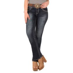 Wallflower Juniors Curvy Buckle Belt Bootcut Jeans