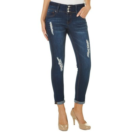 Almost Famous Juniors Double Rolled Destructed Skinny Jeans