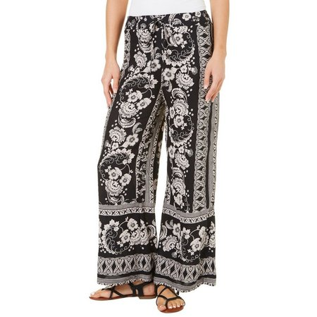 Angie Juniors Floral Damask Tie Waist Palazzo Pants