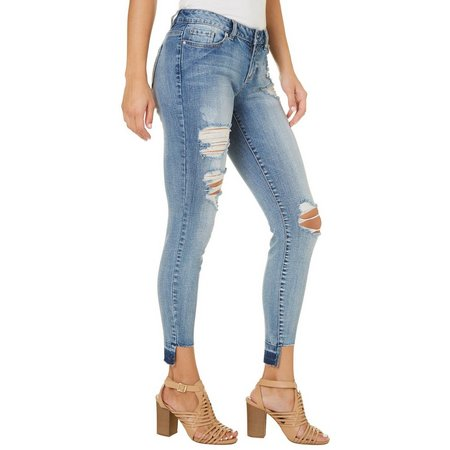 Blue Spice Juniors Destructed Stem Hem Jeans
