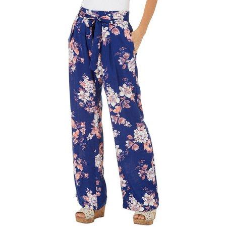 Be Bop Juniors Tie Waist Floral Print High