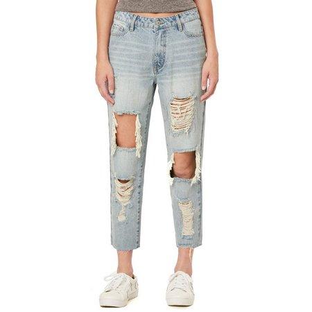 Unionbay Juniors Jules Rhinestone Embellished Frayed Jeans