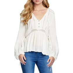 Jessica Simpson Womens Sancia Solid Woven Top