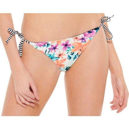 Hot Water Juniors Floral Print Reversible Swim Bottoms