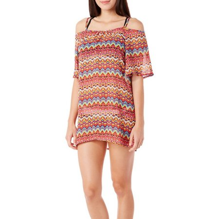 Sister Juniors Mamba Stripe Cold Shoulder Cover-up