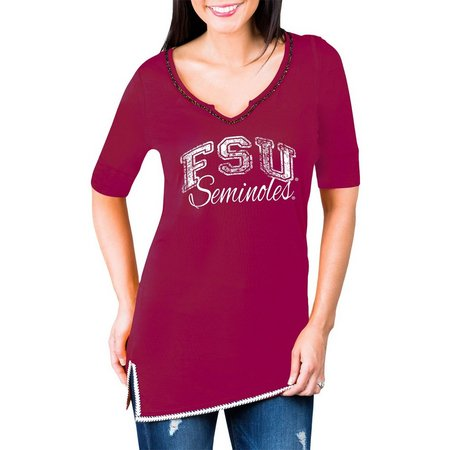 Florida State Juniors Beaded Trim Screen Tunic Top