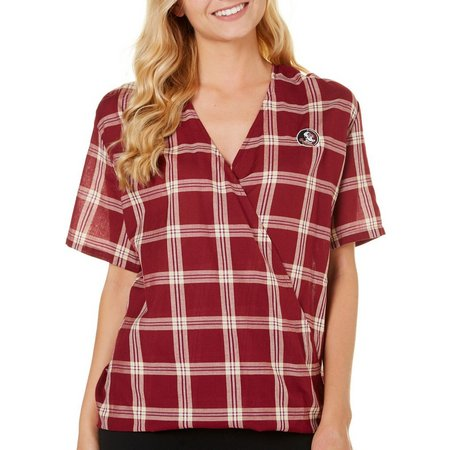 Florida State Juniors Plaid Wrap High-Low Top