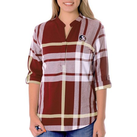 Florida State Juniors Plaid Logo Tunic Top
