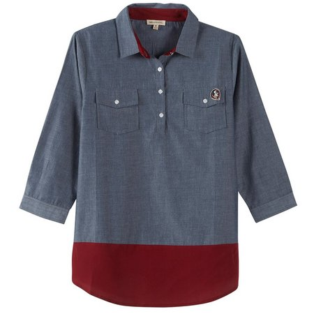 Florida State Juniors Colorblock Chambray Top
