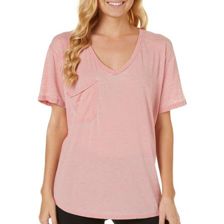 Poof Juniors Mineral Wash Chest Pocket T-Shirt