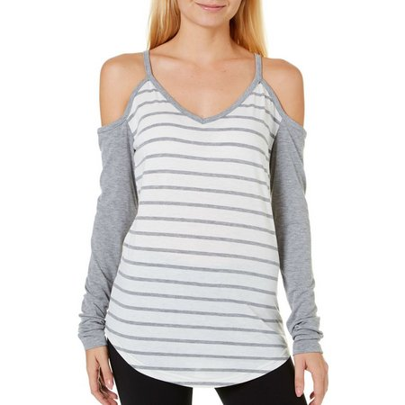 Poof Juniors Heather Striped Cold Shoulder Top