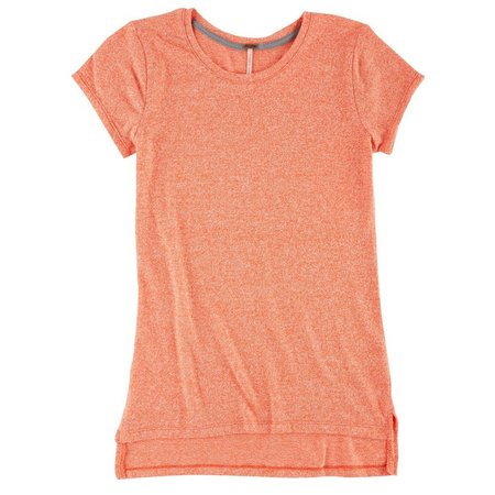 Poof Juniors Marled Knit High-Low T-Shirt