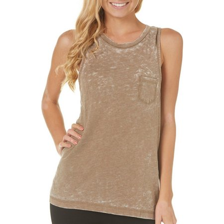 Poof Juniors Burnout High Neck Tank Top