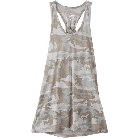 Poof Juniors Camo Print Knot Back Strap Tank